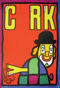 """Jan Mlodozeniec, Cyrk, 1979 – Frank Fox Polish Poster Collection at Drexel University. This poster for cyrk by Mlodozeniec features simplified flat shapes, bright colors and a bold font. the clown wears a top hat and carries a slingshot made of the letter """"y."""" The viewer could interpret the actions of the clown as he sneaks out of the frame with the """"y"""" as an underlying message about sociopolitical issues."""