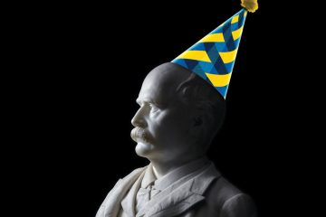 Bust of A.J. Drexel wearing birthday hat