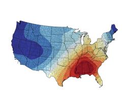 heatmap of the United States focusing on the Southeast
