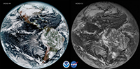 Comparison of GOES vs. earlier satellite photo of earth