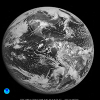 Photo of the earth, first image taken by GOES