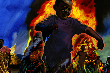 Illustration of a Sudanese village on fire