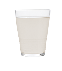 Clear glass filled with cloudy water