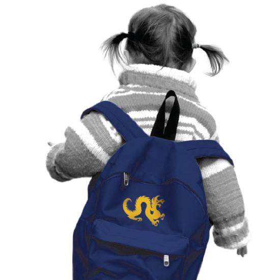 little girl wearing backpack
