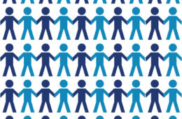 Blue and Purple Graphic of people holding hands