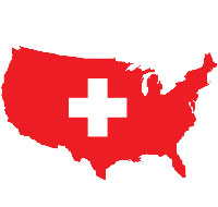 united states map with a white cross