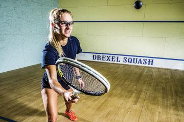 a girl playing squash at Drexel