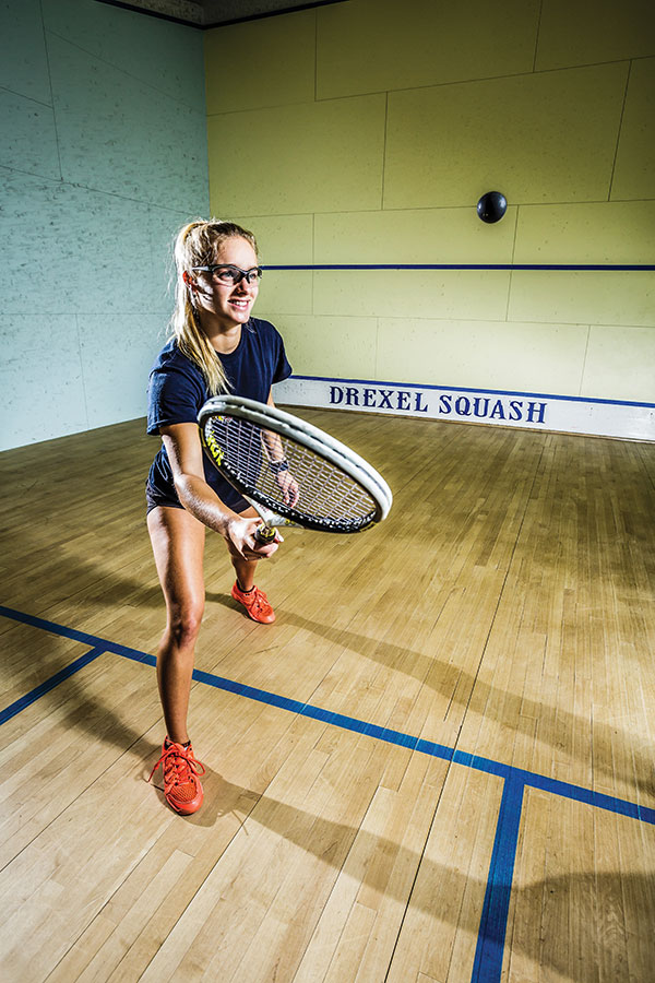 a girl playing squash at Drexel