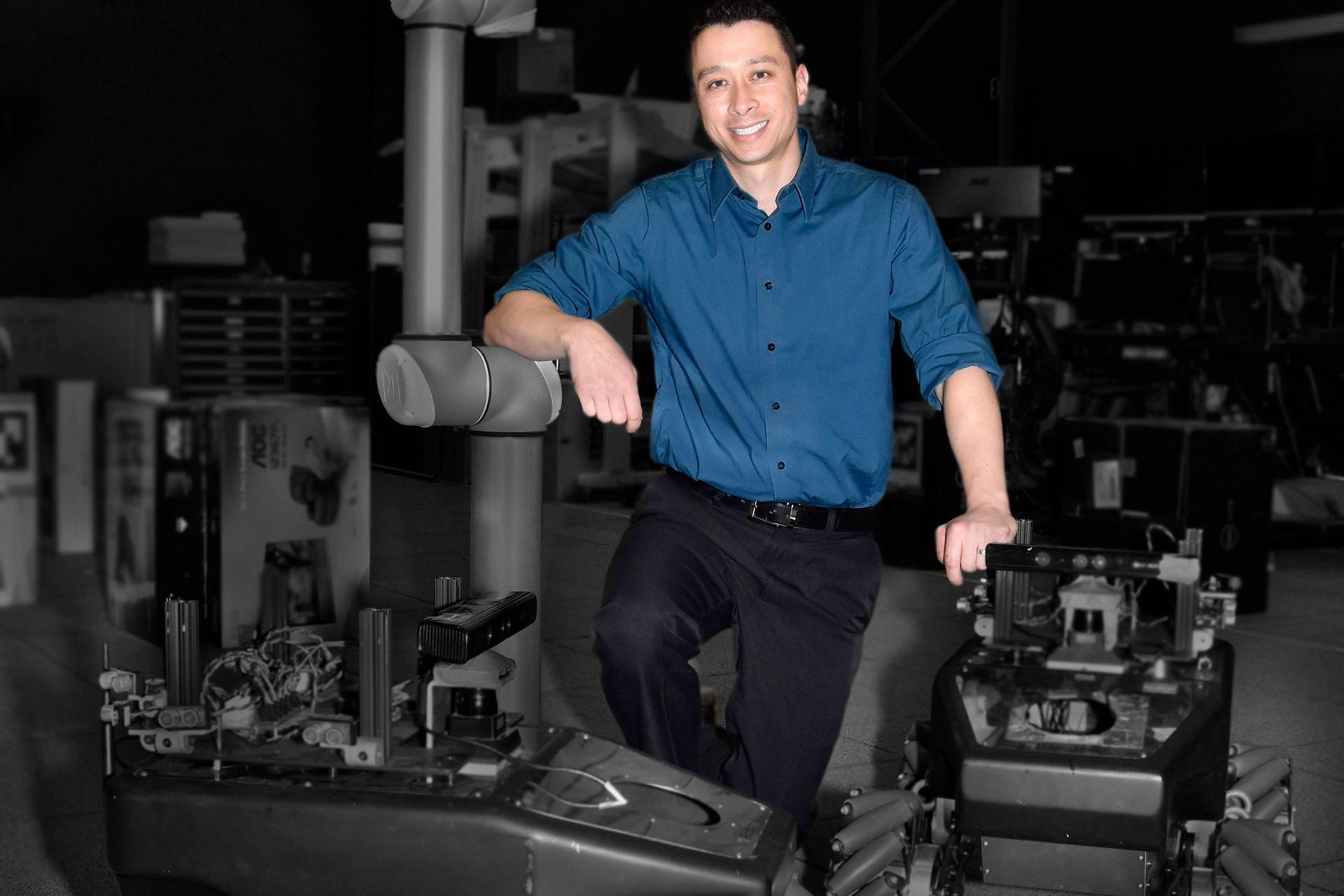 hing posing on machinery