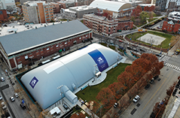 Aerial view of Drexel Athletics sports bubble.