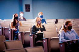 drexel students wearing masks in class