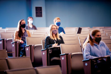 drexel students wearing masks in class