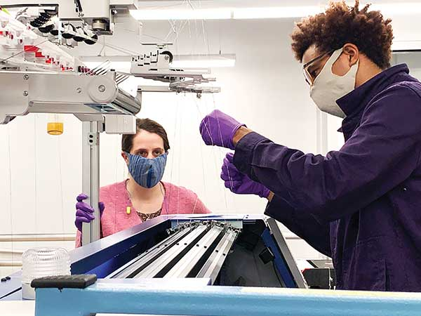 Researchers inside Drexel's newest research lab, the Center for Functional Fabrics, spent the spring creating high-filtering masks for health care workers.