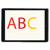 ipad with the letters ABC