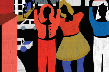 graphic illustration of people in the street
